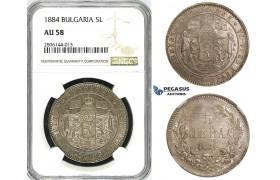 ZJ52, Bulgaria, Alexander, 5 Leva 1884, St. Petersburg, Silver, NGC AU58, Rare!