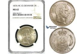 ZJ54, Denmark, Christian IX, 2 Kroner 1876, Copenhagen, Silver, NGC MS62
