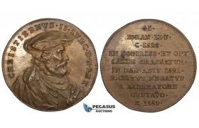 ZJ55, Denmark, Christian II, Bronze Medal 1559 (18th Cent. strike?) (Ø33mm, 12.98g) On his death, Rare!!