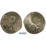 ZJ58, Canada (French) AR Douzain (15 Deniers) (1.68g), ND (after 1640), countermark lis on issue of Henri IV, VF