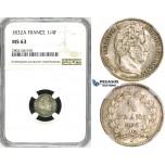 ZJ61, France, Louis Philippe I, 1/4 Francs 1832/1-A, Paris, Silver, NGC MS63
