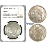 ZJ62, France, Napoleon III, 5 Francs 1869-BB, Strasbourg, Silver, NGC MS61