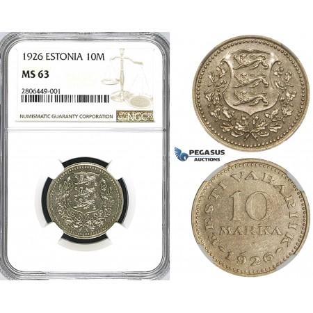 ZJ65, Estonia, 10 Marka 1926, NGC MS63, Pop 1/0, Finest! Extremely Rare!