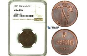 ZJ66, Finland (under Russia) Nicholas II, 5 Penniä 1897, NGC MS64BN