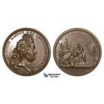 ZJ67, France, Louis XIV, Bronze Medal 1695 (Ø41mm, 39.70g) by Mauger, Ships, Navy, Nine Years' War