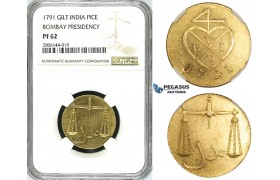 ZK02, India, Bombay Presidency, Pice 1791, Gilt Bronze, NGC PF62
