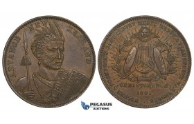 ZK07, New Zealand, Copper Token Penny 1881, Christchurch, Maori warrior