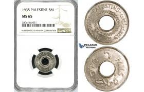 ZK08, Palestine, 5 Mils 1935, NGC MS65