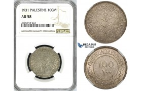 ZK10, Palestine, 100 Mils 1931, London, Silver, NGC AU58, Rare!
