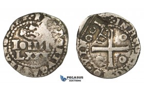 ZK13, Portuguese Brazil, Alfonso VI, 100 Reis ND (1663) Lisbon, Silver (3.83g) Counter mark on Portugal 80 Reis, Type IV, Rare!