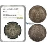 ZK15, Portugal, Joao VI, 400 Reis 1821, Lisbon, Silver, NGC MS62