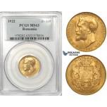 ZK20, Romania, Ferdinand I, 20 Lei 1922, London, Gold, PCGS MS63