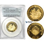 ZK21, Romania (Socialist Republic) 500 Lei 1983-FM, Franklin Mint, Gold, 2050 Years of Dacian State, PCGS PR69UC (Numbered edge)