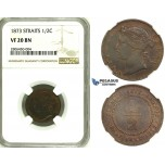 ZK29, Straits Settlements, Victoria, 1/2 Cent 1873, NGC VF20BN