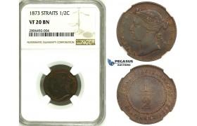 ZK29, Straits Settlements, Victoria, 1/2 Cent 1873, NGC VF20BN