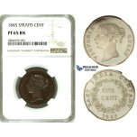 ZK30, Straits Settlements, Victoria, 1 Cent 1845 WW, NGC PF65BN, Pop 1/0, Finest & Extremely Rare!