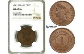 ZK32, Straits Settlements, Victoria, 1 Cent 1883, NGC MS62, Rare!