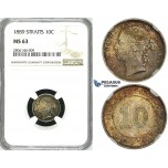 ZK33, Straits Settlements, Victoria, 10 Cents 1889, Silver, NGC MS63 (Rainbow toning)
