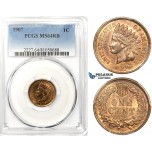 ZK41, United States, Indian Head Cent 1907, PCGS MS64RB