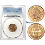 ZK42, United States, Indian Head Cent 1907, PCGS MS63RB