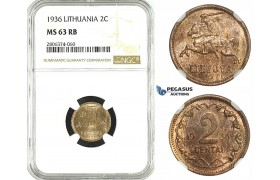 ZK54, Lithuania, 2 Centai 1936, NGC MS63RB