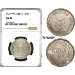 ZK55, Palestine, 100 Mils 1927, London, Silver, NGC AU58