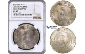 "ZK63, China ""Memento"" Dollar 1927, Silver, NGC MS62"