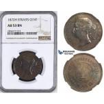 ZK75, Straits Settlements, Victoria, 1 Cent 1872-H, Heaton, NGC AU53BN
