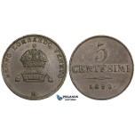 ZK81, Italy, Lombardy, Franz Joseph, 5 Centesimi 1850-M, Mlian, Brown EF