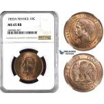 ZK88, France, Napoleon III, 10 Centimes 1853-A, Paris, NGC MS65RB