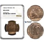 ZK89, France, Napoleon III, 10 Centimes 1863-A, Paris, NGC MS64BN