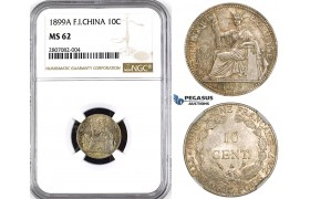 ZK92, French Indo-China, 10 Centimes 1899-A, Paris, Silver, NGC MS62