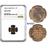 ZK93, Great Britain (For use in Malta) Victoria, 1/3 (Third) Farthing 1885, NGC MS63BN