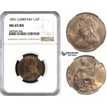ZK94, Great Britain, Vcitoria, 1/2 Penny 1901, NGC MS65BN
