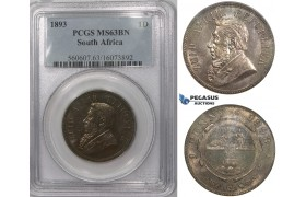 ZK97, South Africa (ZAR) 1 Penny 1893, PCGS MS63BN, Rare!