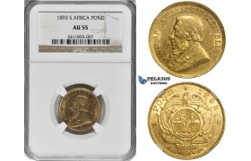 ZK98, South Africa (ZAR) Pond 1893, Gold, NGC AU55, Rare!