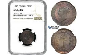 ZL01, Ceylon, Victoria, 1 Cent 1870, NGC MS64BN
