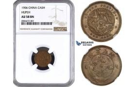ZL02, China, Hupeh, 1 Cash 1906, NGC AU58BN