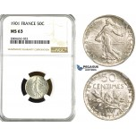 ZL12, France, Third Republic, 50 Centimes 1901, Paris, Silver, NGC MS63