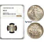 ZL13, France, Third Republic, 50 Centimes 1909, Paris, Silver, NGC MS63