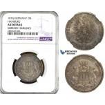ZL15, Germany, Hamburg, 2 Mark 1876-J, Hamburg, Silver, NGC AU Det.