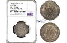ZL15, Germany, Hamburg, 2 Mark 1876-J, Hamburg, Silver, NGC AU Det.