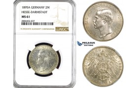 ZL16, Germany, Hesse-Darmstadt, Ernst Ludwig, 2 Mark 1895-A, Berlin, Silver, NGC MS61, Rare!