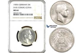ZL17, Germany, Saxe-Coburg-Gotha, Carl Edvard, 2 Mark 1905-A, Berlin, Silver, NGC MS64, Rare!