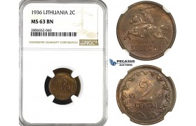 ZL19, Lithuania, 2 Centai 1936, NGC MS63BN