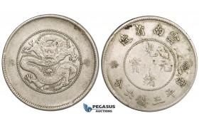 ZL42, China, Yunnan, 3 Mace 6 Candareens (50 Cents) 1911, Silver, L&M 424, VF