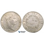 ZL46, France, Napoleon I, 5 Francs 1811-A, Paris, Silver, aXF, Cleaned