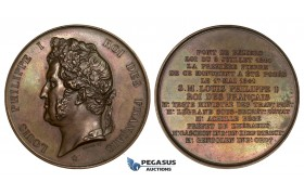 ZL53, France, Louis Philippe I, Bronze Medal 1841 (Ø61mm, 60.1g) by Barre, Bridge of Beziers