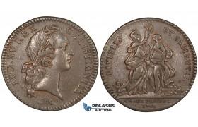 ZL70, France, Louis XV, Bronze Token Medal 1744 (Ø44mm, 6.65g) by Roettiers, Owl