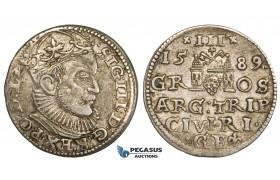 ZL85, Latvia, Riga, Sigismund III of Poland, 3 Groschen (Trojak) 1589, Riga, Silver (2.23g) Toned VF+